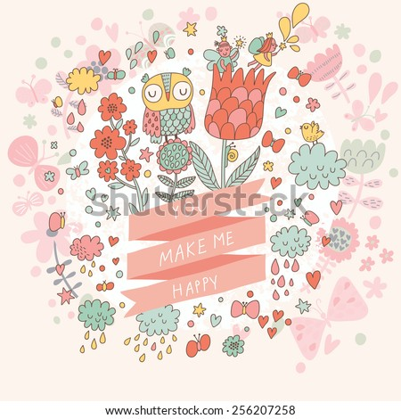 You make me happy - sweet concept card in vector. Lovely Owl in flowers. Romantic background in cartoon style - stock vector