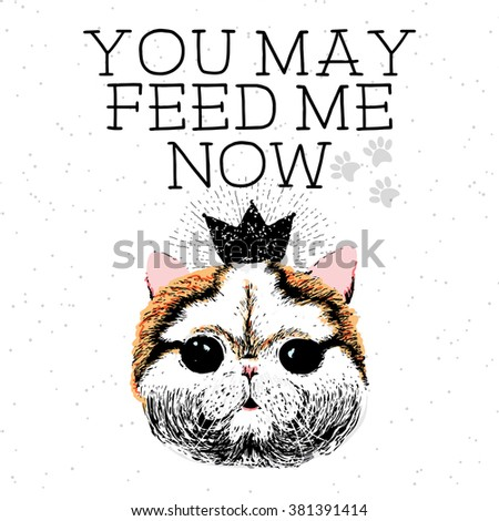 You may feed me now, hand drawn card and lettering calligraphy motivational quote for cat lovers and typographic design. Cute, friendly, smiling, inspirational kitty on textured sparkle background.  - stock vector