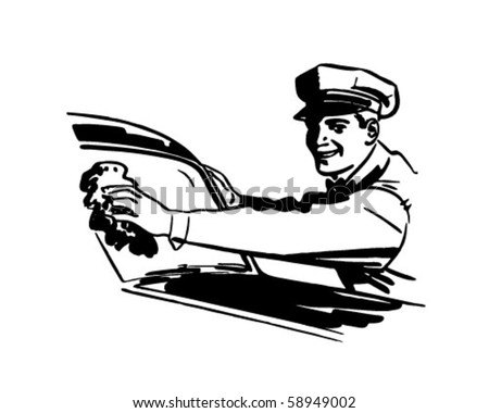 You're All Set Now - Gas Station Attendant Cleaning Windshield - stock vector
