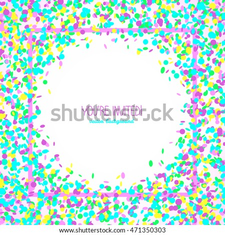 You're invited! Party card or banner. Square text frame made of colorful confetti. White background with copy space. Bright party card in neon colors.
