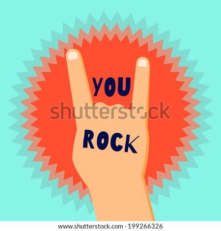 You Rock Flat Design Poster Template Stock Vector 199266326