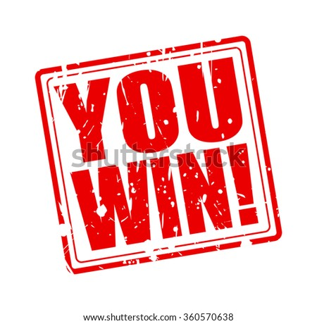 You win red stamp text on white - stock vector