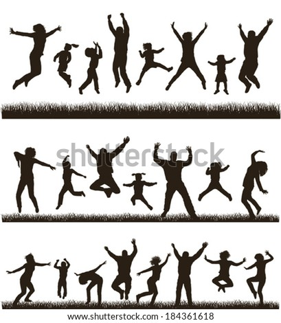 Young active family.  Very detailed silhouettes. Set. - stock vector