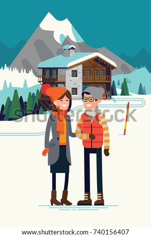 Young adult couple enjoying their winter holiday season vacation in ski resort mountain hotel. High quality vector illustration on winter outdoors activity and recreation