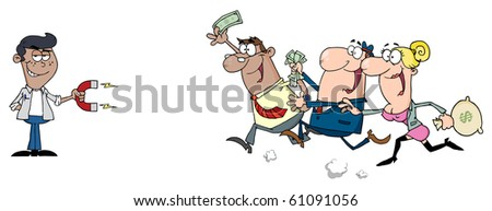 Young African American Businessman Using A Magnet Attracts People With Money - stock vector