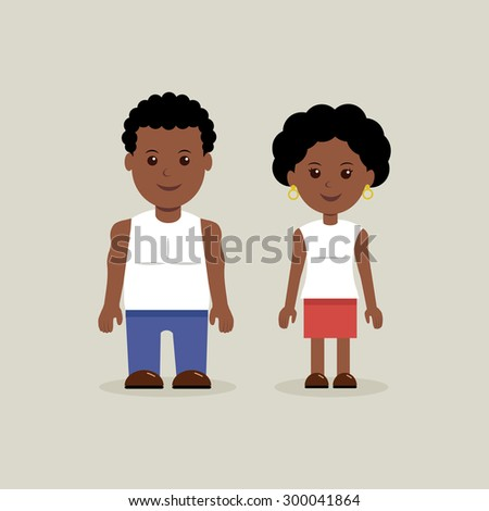Young African American characters in casual clothes. - stock vector