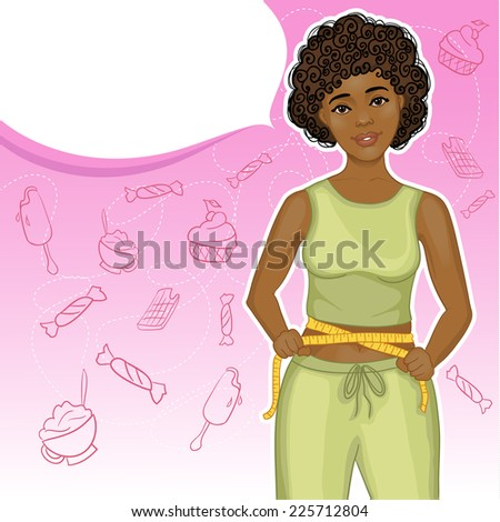 Young African American woman with measure tape, eps10  - stock vector
