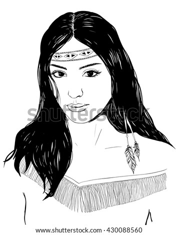 Young american indian woman portrait, hand drawn sketch, cherokee girl with black hair, black white illustration - stock vector