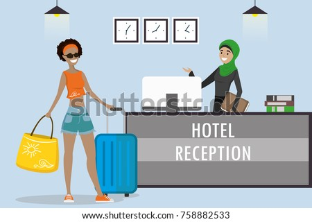Young Arabic Woman Receptionist Hijab African American ...