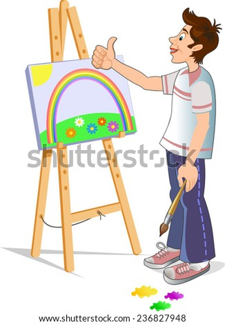Young artist who paints with brush painting - stock vector