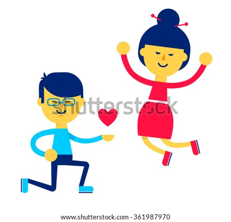 Young asian couple in love. Love relationship concept. Boy got down on one knee and girl jumping for joy. Flat illustration isolated on white background. Vector stock. - stock vector