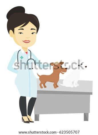 Young asian veterinarian with stethoscope examining dogs in hospital. Veterinarian with dogs at vet clinic. Medicine and pet care concept. Vector flat design illustration isolated on white background.