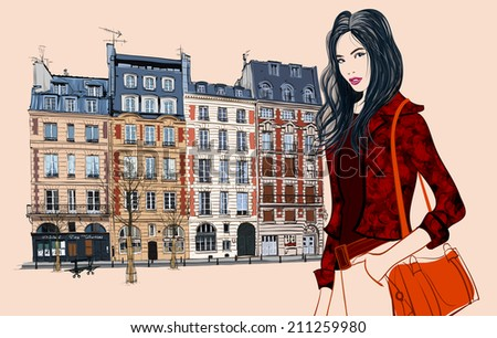 Young asian woman visiting Paris - Vector illustration - stock vector