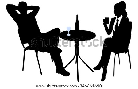 Young attractive couple enjoying drinking together in a restaurant - stock vector