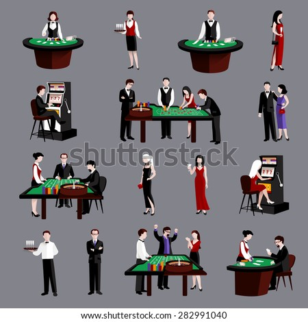 Young attractive people in casino gambling flat icons set isolated vector illustration - stock vector