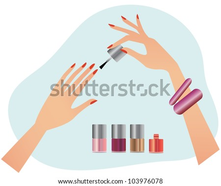 Young attractive woman doing manicure