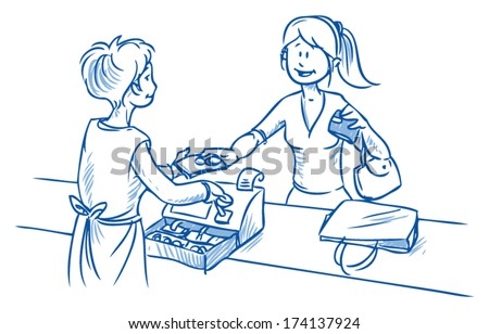 Young attractive woman paying her goods at the cash register giving the shop assistant cash money. Hand drawn sketch vector illustration - stock vector