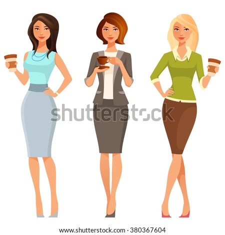 young attractive women in smart casual clothes, with coffee - stock vector