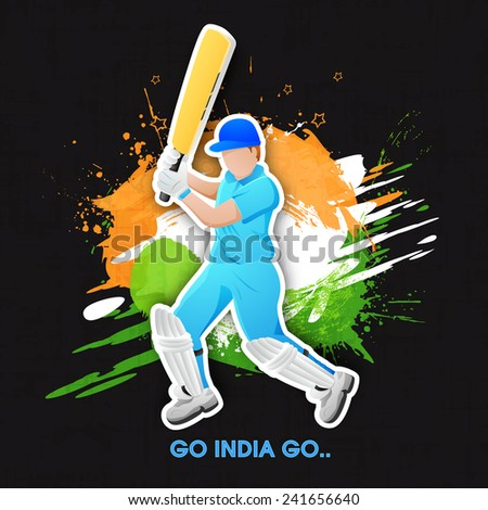 Young batsman in playing action with text Go India Go on national flag color splash background. - stock vector