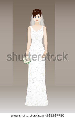 Young beautiful bride on grey background, vector card for wedding
