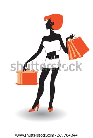 Young beautiful fashionable girl standing with shopping.