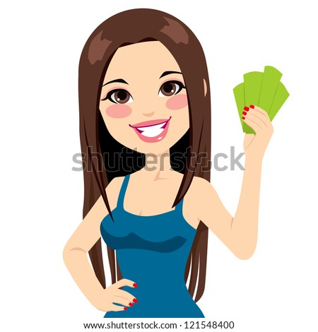 Young beautiful girl holding money bank notes fan - stock vector