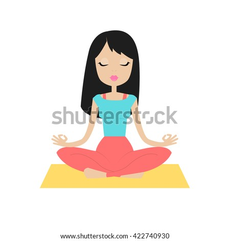 Young beautiful girl sitting in the lotus position and meditates. Isolated on white background.