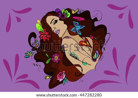 Young beautiful girl with flowers. Hand drawn vector stock illustration. Bright background