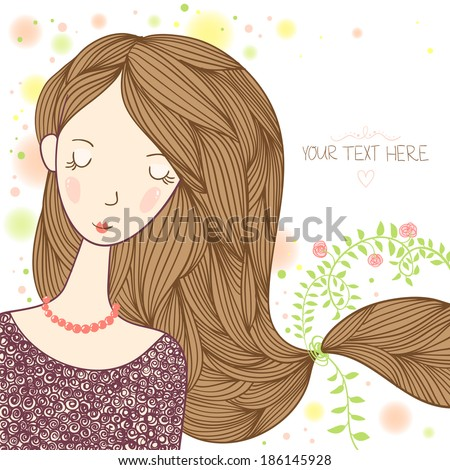 Young beautiful girl with long hair. Hair care vector illustration. - stock vector