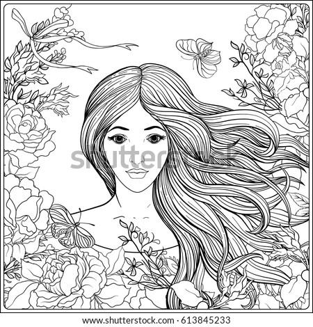 Young Beautiful Girl Long Hair Roses Stock Vector 613845233 Shutterstock