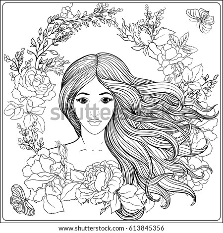 Young Beautiful Girl Long Hair Roses Stock Vector 613845356 ...