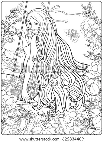 long hair coloring pages - young beautiful girl long hair on stock vector 625834409