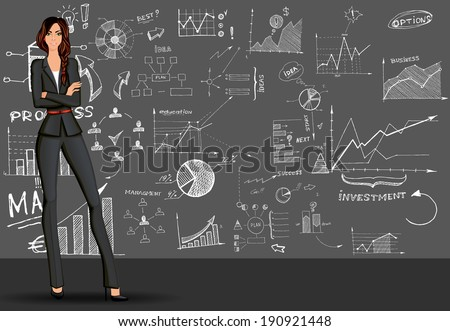 Young beautiful long legged  business woman against the doodle style  sketch background in formal suit vector illustration - stock vector