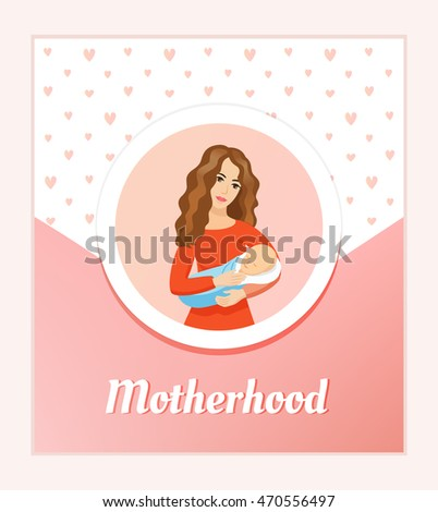 Young beautiful mother holding sleeping baby - vector card. Motherhood and love conception.