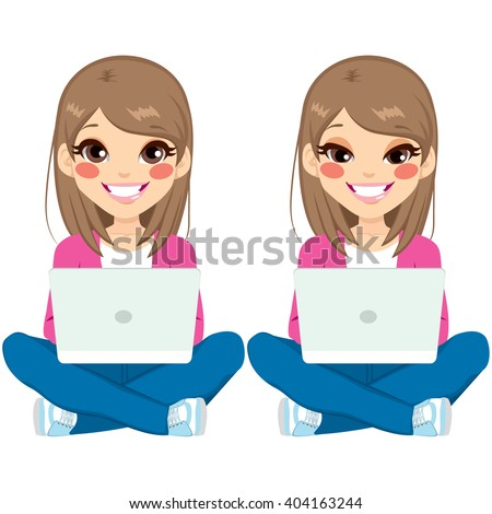 Young beautiful teenager girl sitting on floor with white laptop on two different face expressions - stock vector