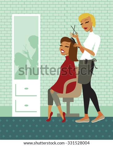 Young beautiful woman having her hair cut at the hairdresser salon - stock vector