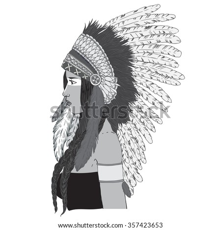 Young beautiful woman in costume of American Indian. Woman with traditional make up and in  sc 1 st  Shutterstock & Young Beautiful Woman Costume American Indian Stock Vector 357423653 ...