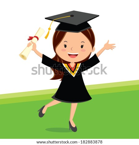 Young beauty graduate woman. A young graduate girl holding certificate with cheerful smile. - stock vector