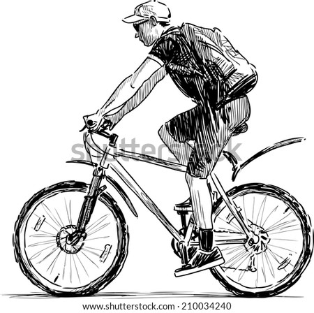 young bicyclist - stock vector