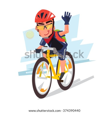 Young bicyclist man with bike. Character design. Sport and healthy concept - vector illustration - stock vector