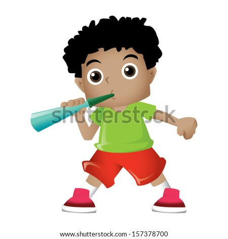 Young black boy blowing party trumpet - stock vector