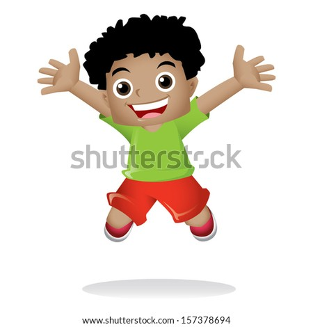 Young black boy jumping happily - stock vector