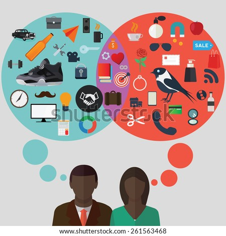 Young black man and woman thinking about different things vector illustration. Different and common aspirations between genders concept. - stock vector