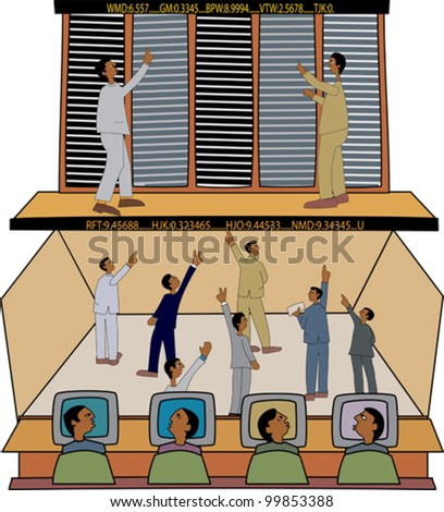 Young black professionals at the stock exchange - stock vector