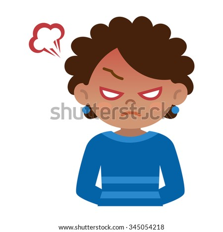 Young black woman to rage - stock vector
