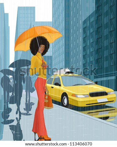 Young black woman with umbrella in the city in rainy weather - stock vector