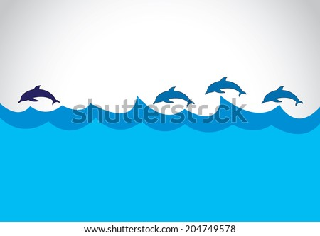 young blue dolphin lead a group of dolphins - leadership concept.  beautiful energetic blue dolphin silhouette leading others into ocean surface - wild sealife leader leading illustration art - stock vector