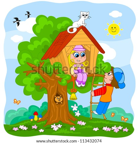 Young boy and girl playing in a tree house. Cartoon illustration for little kids. - stock vector