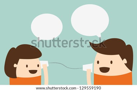 Young boy and girl talking with cup telephone - stock vector