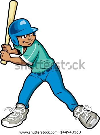 Young Boy Baseball or Softball Batter - stock vector